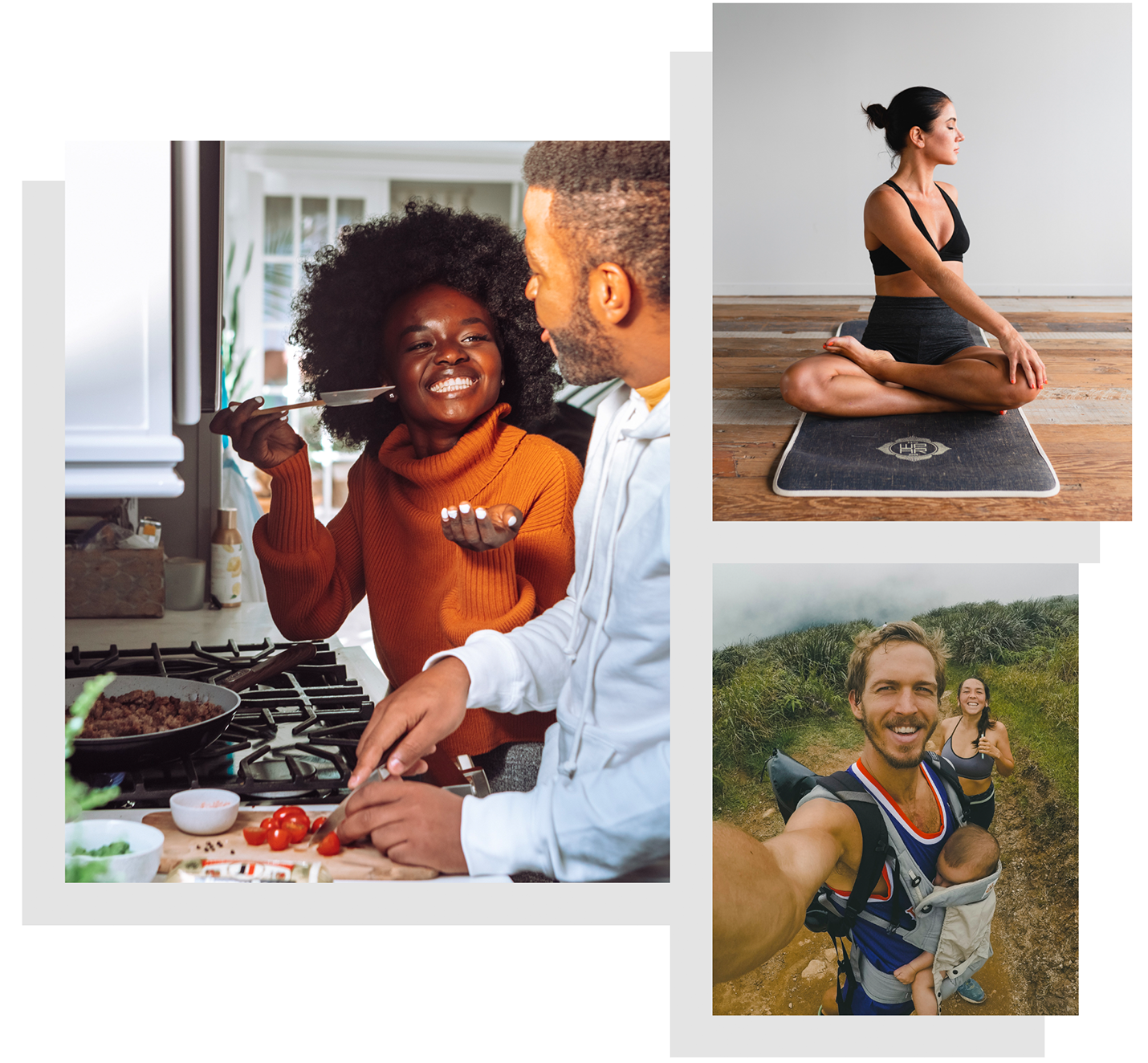 Homepage Hero Image - people hiking, eating, exercising